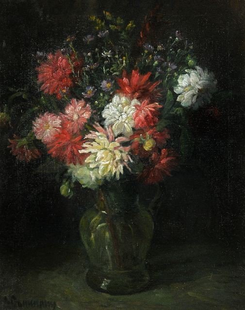16: A. Gamanny (20th Century) Autumn Flowers Oil on can