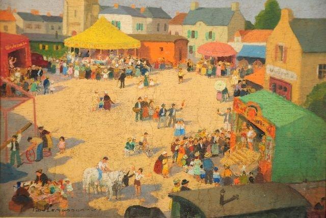 19: Jean Paul Lemasson (b. 1954) Village Scene, Oil on