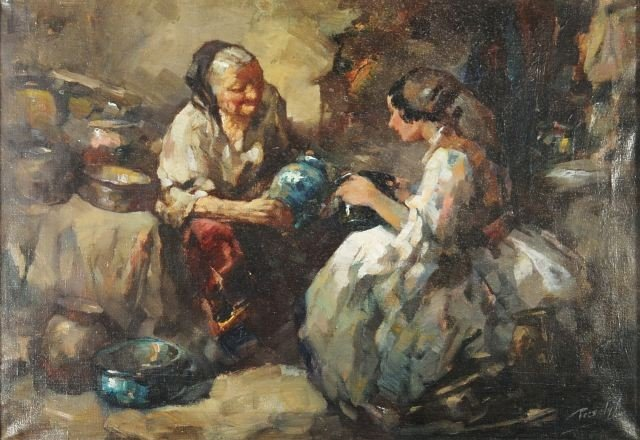 4: Antal Peczely (Hungarian, 1891-1963) Two Women with