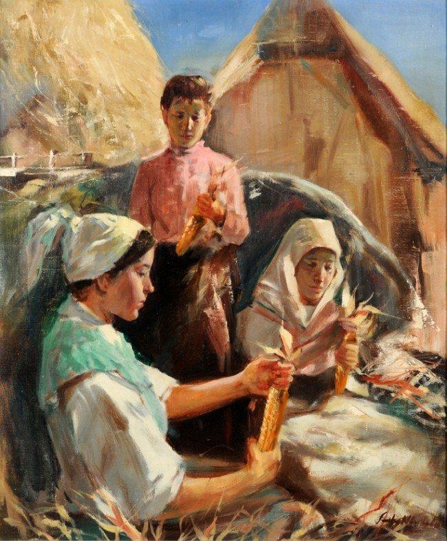 5: Artist unknown (Hungarian, 20th Century) Women Shuck