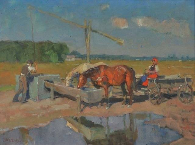 6: Bela Juszko (Hungarian, 1877-1969) Farm Scene, Oil o