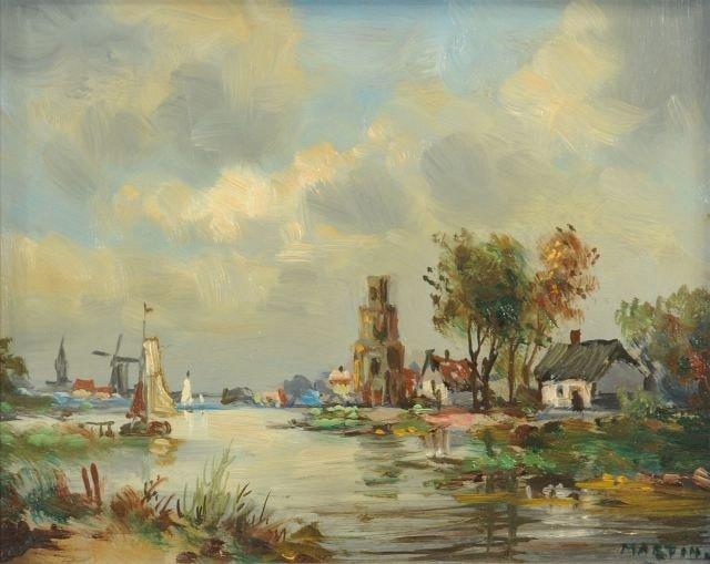 8: Artist Unknown, (20th Century), Dutch Harbor Scene,