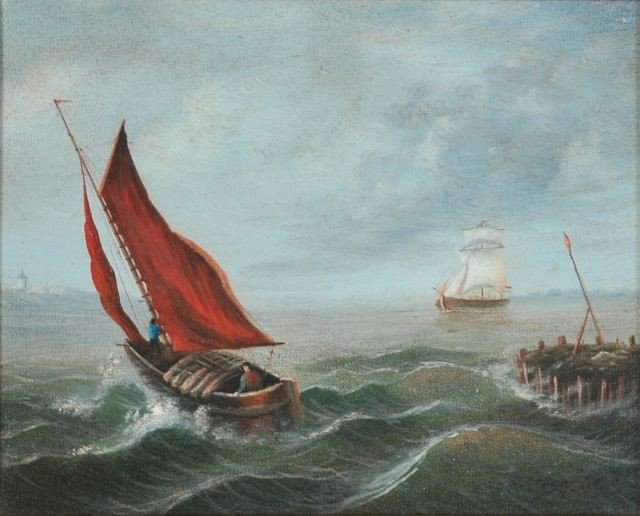 12: Artist Unknown (20th Century) Ships At Sea, Oil on