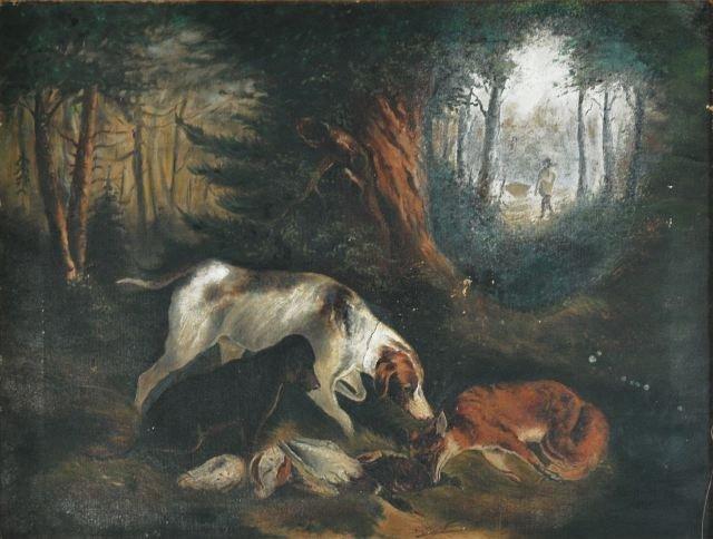 16: Artist Unknown (19th Century) Hunting Scene, Oil on