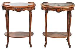 207 A Pair Of Fruitwood Marquetry Two Tier Side Tables