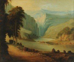 Artist Unknown (19th Century) Hudson River Oil On Ca