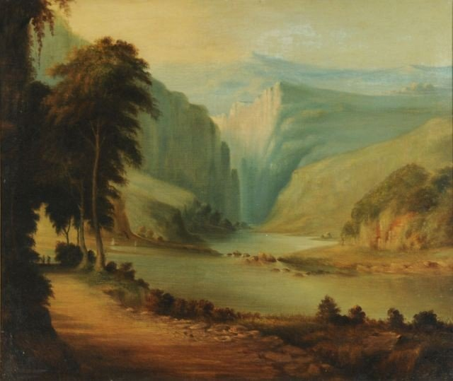 7: Artist Unknown (19th Century) Hudson River Oil on ca