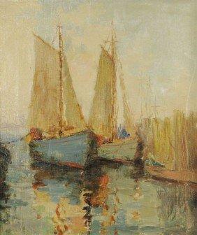 8: Artist Unknown (20th Century) Harbor Scene, Oil on c