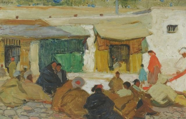 12: Grace Ravlin (1885-1956) Moroccan Scene, Oil on boa
