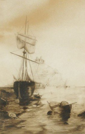 13: Artist Unknown (20th Century) Harbor Scene, Waterco