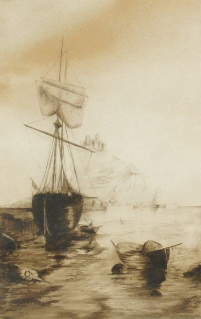 13: Artist Unknown (20th Century) Harbor Scene, Waterco
