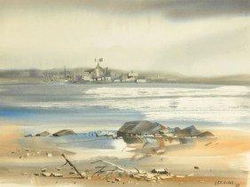 15: Fred Leach (20th Century) Harbor Scene, Watercolor,