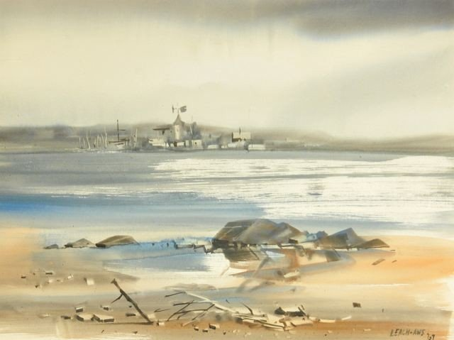 15: Fred Leach (20th Century) Harbor Scene, Watercolor,