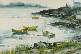 Carlton Plummer (20th Century) Harbor Scene, Waterc