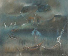 17: Charles Obas (Haitian, 1927-1968) Harbor Scene, Oil