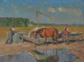 20: Bela Juszko (Hungarian, 1877-1969) Farm Scene, Oil
