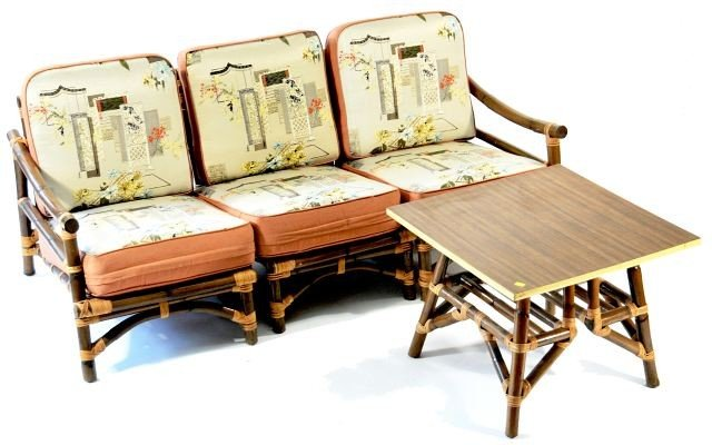 117 a vintage rattan sofa chair and two tables rh liveauctioneers com vintage rattan sofa table vintage wicker sofa table
