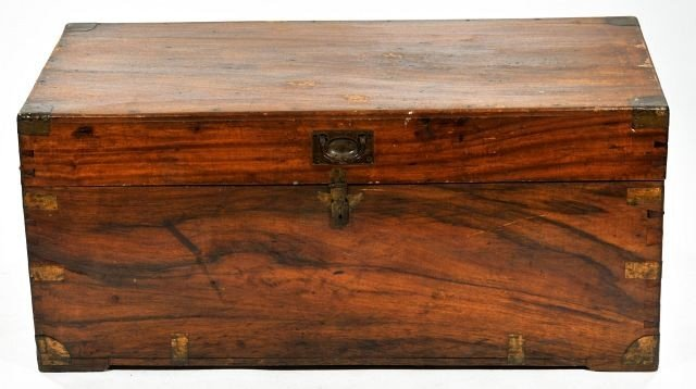 3: A Tropical Wood and Brass Foot Locker, 20th Century.