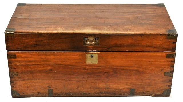 4: A Tropical Wood and Brass Foot Locker, 20th Century,