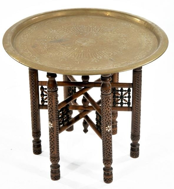 5: A Persian Carved Hardwood Folding Brass Tray Table w