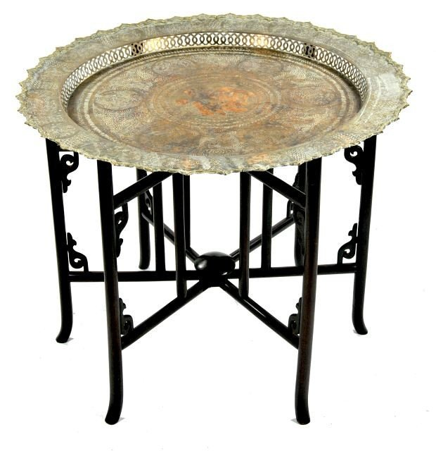 6: A Chinese Rosewood and Brass Tray Folding Table, 20t
