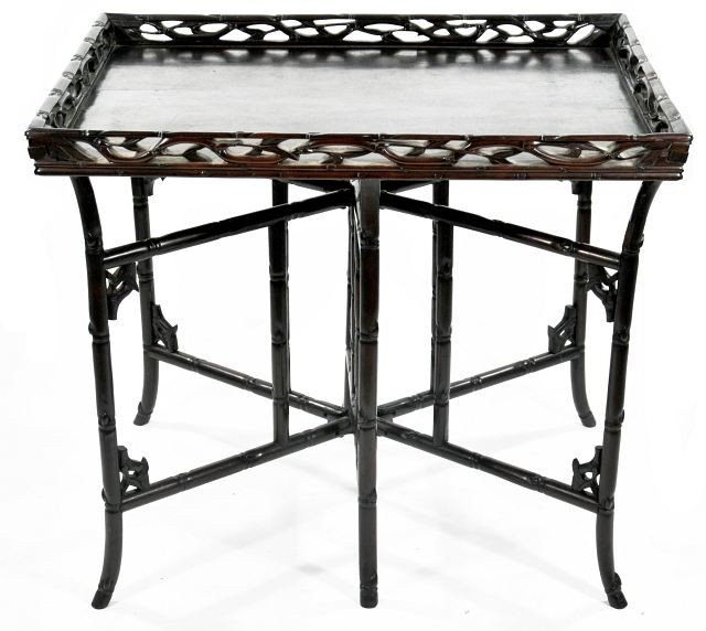 7: A Chinese Rosewood Folding Tray Table, 20th Century.