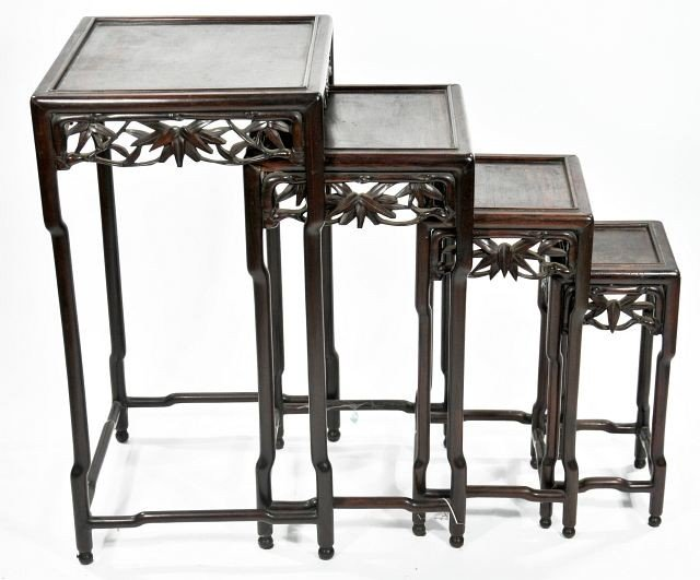 8: A Set of Four Chinese Carved Rosewood Nesting Tables