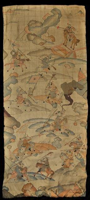 13: A Chinese Silk Kosu Weave Wall Hanging, 19th/20th C