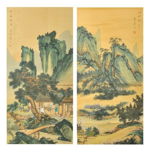 15: Two Chinese Hand Painted Landscapes on Silk Scroll,