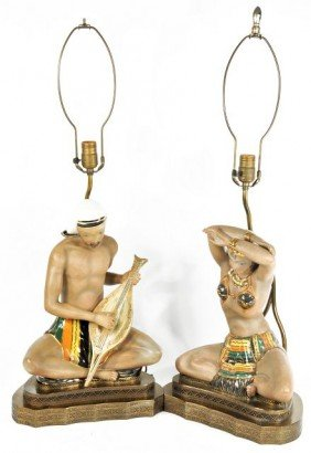 A Pair Of Vintage Ceramic Figural Table Lamps,