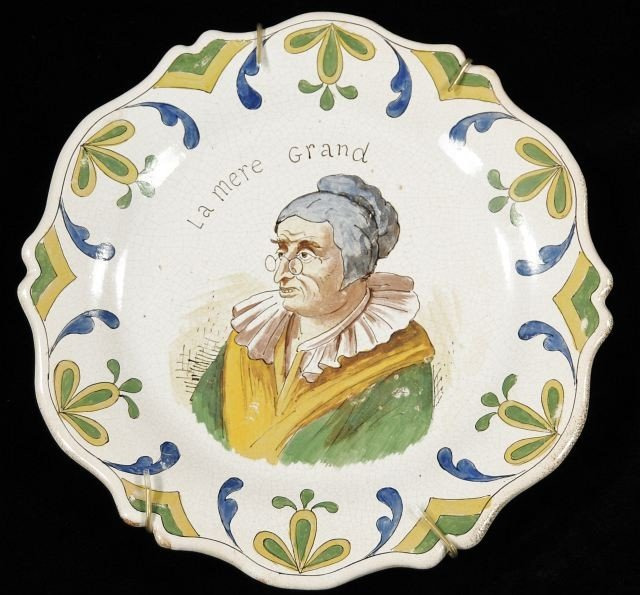 """41: A French Faience Tin Glazed Portrait Plate Titled """""""