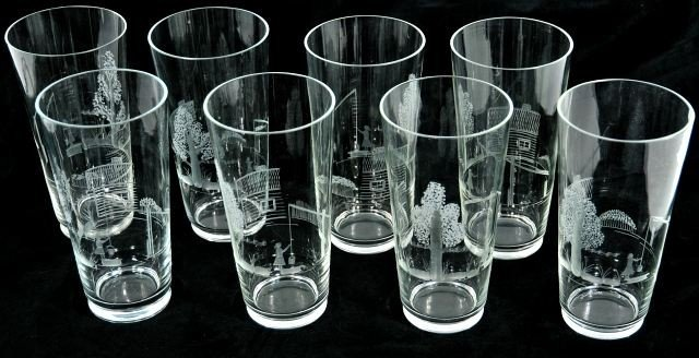 43: A Set of Etched Glass Ware.