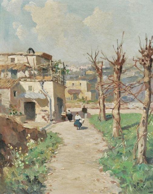 49: Andrea Fortini (Italian, 1902-1977) Village Scene,
