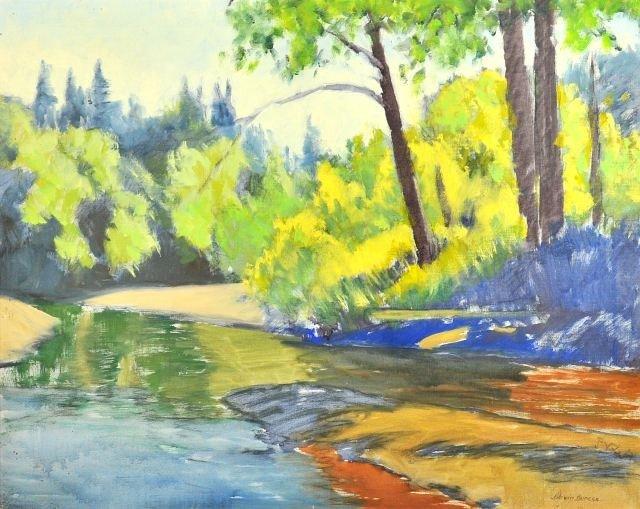 52: Darwin Duncan (1905-2002) A River Landscape, Oil on