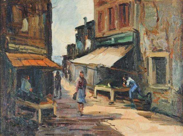 58: Cruiz (20th Century) Village Scene, Oil on canvas,