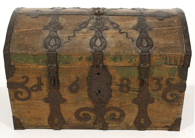 3: A Spanish Oak and Iron Domed Chest, 17th Century,