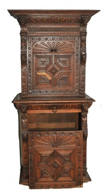 6: A Gothic Revival Carved Oak Two Part Cabinet, Late 1