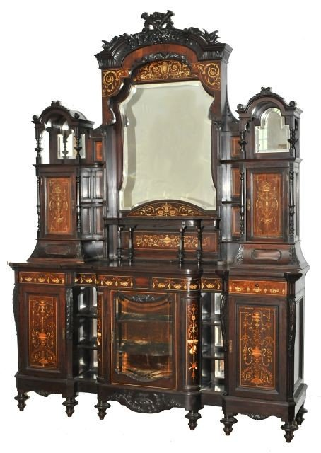 10: A Continental Carved Mahogany, Rosewood, Oak and Fr