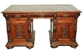 13: A Gothic Revival Heavily Carved Oak and Walnut Part