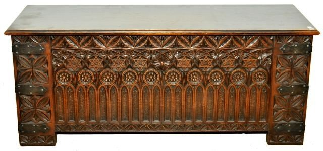 14: A Gothic Revival Carved Oak Chest, Early 20th Centu