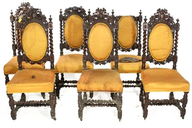 21: A Charles II Style Carved Oak Parlor Suite, Early 1