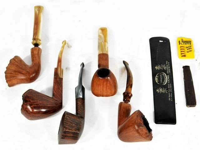 122: A Group of Nine Pipes by Various Makers, 20th Cent