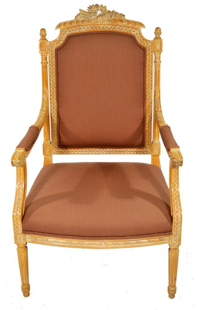 2: A Louis XV Style Carved Oak Fauteuil, 20th Century,