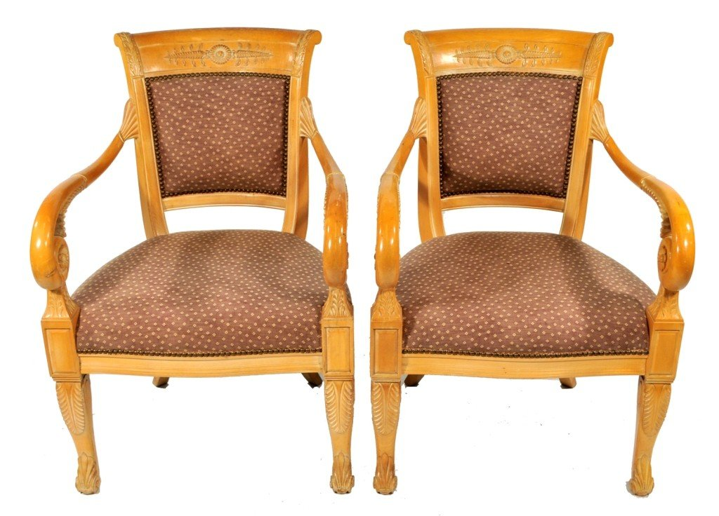 3: A Pair of Empire Style Carved Ash Open Armchairs, 20