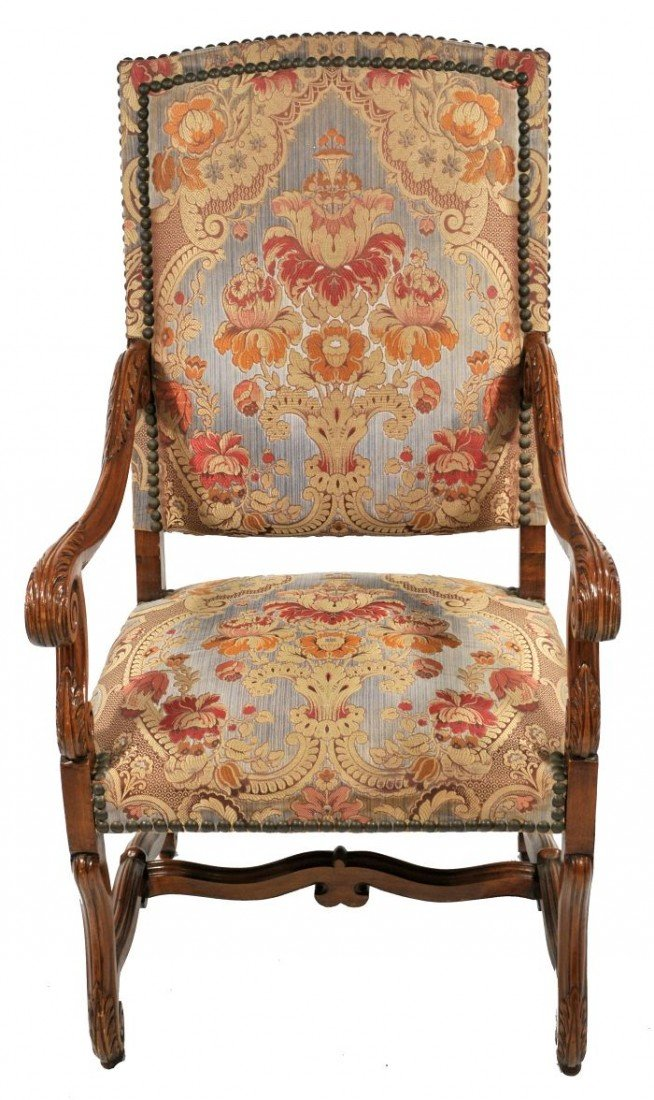 4: A Charles II Style Carved Mahogany Open Armchair, 20