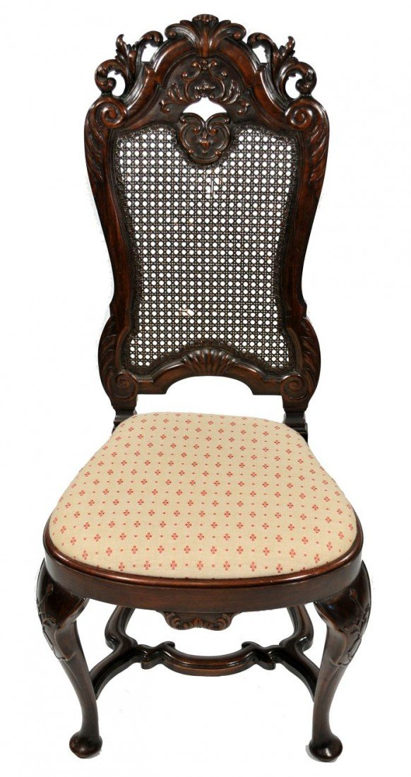 6: A Charles II Style MahoganyCaned Back Side Chair,