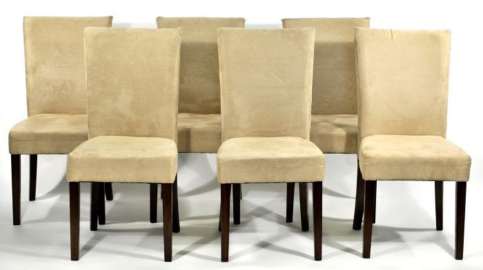13: A Set of Six Contemporary Micro-Suede and Mahogany