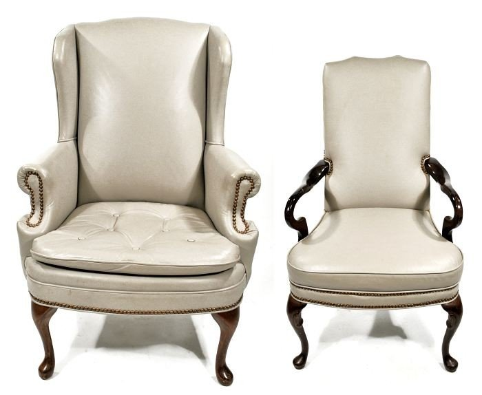 16: Two Queen Anne Style Faux Leather Armchairs, 20th C