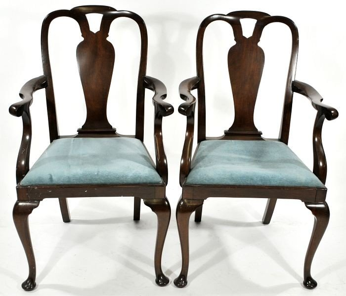 18: A Pair of Queen Anne Style Mahogany Open Armchairs,