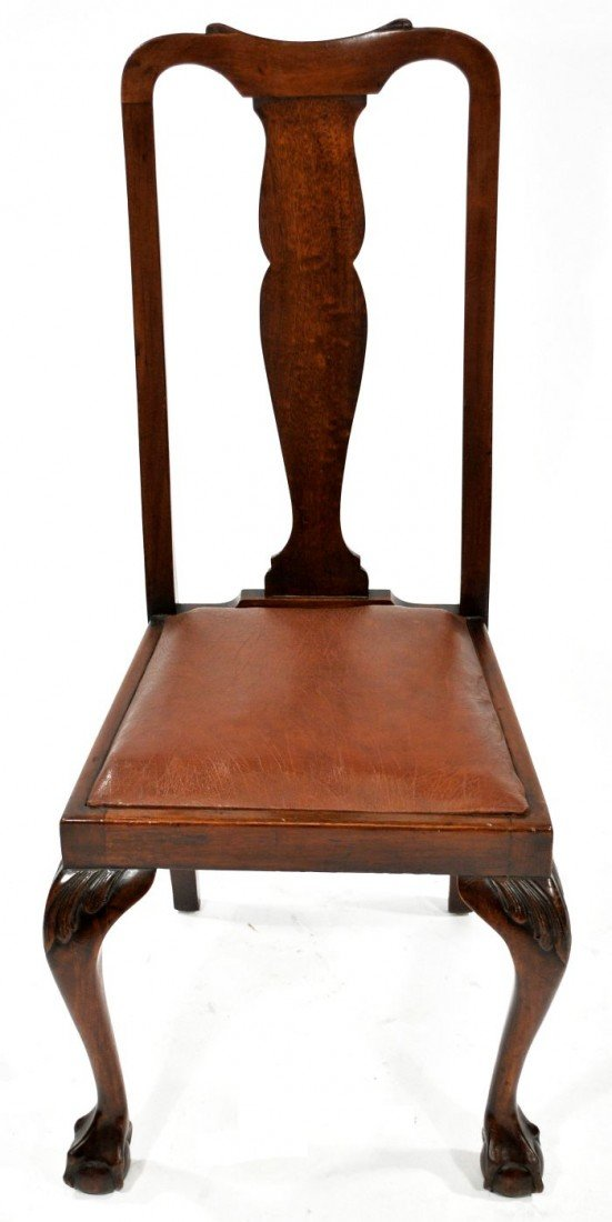 19: A Georgian Style Carved Oak & Mahogany Side Chair,